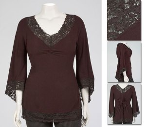 Brown v-neck top with lace trim on neckline, arms, and bottom.