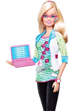 Barbie with a ones and zeros tea, pink glasses, bluetooth, and pink laptop