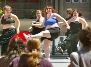Fat women doing aerobics
