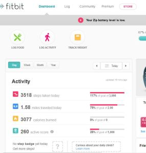 Snapshot of Fitbit dash