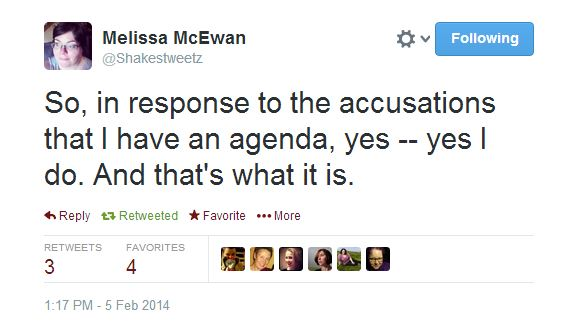 So, in response to the accusations that I have an agenda, yes -- yes I do. And that's what it is.