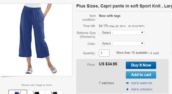 eBay listing for capris with price $34.95