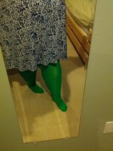 """We Love Colors"" tights in kelly green. Blue & white dress from Making It Big some years ago."